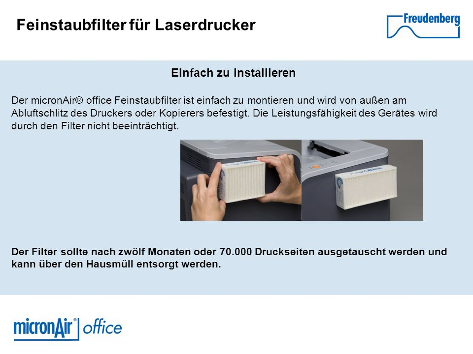 Feinstaubfilter für Laserdrucker Einfach zu installieren