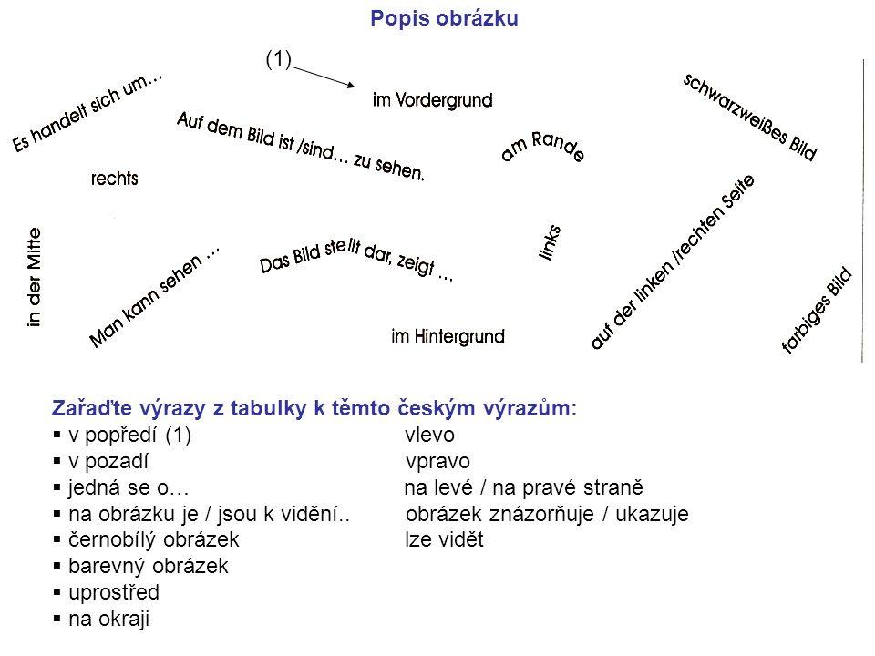 Popis obrázku (1) Zařaďte výrazy z tabulky k těmto českým výrazům: v popředí (1) vlevo.