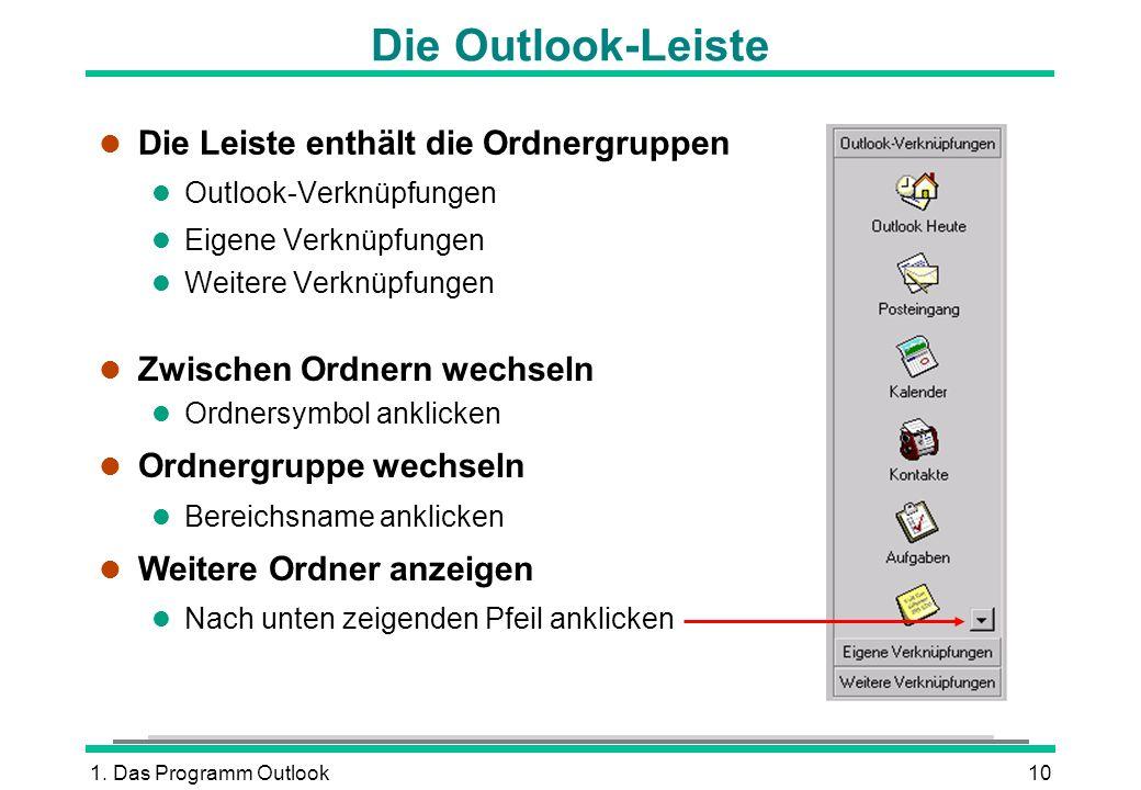 Die Outlook-Leiste Die Leiste enthält die Ordnergruppen