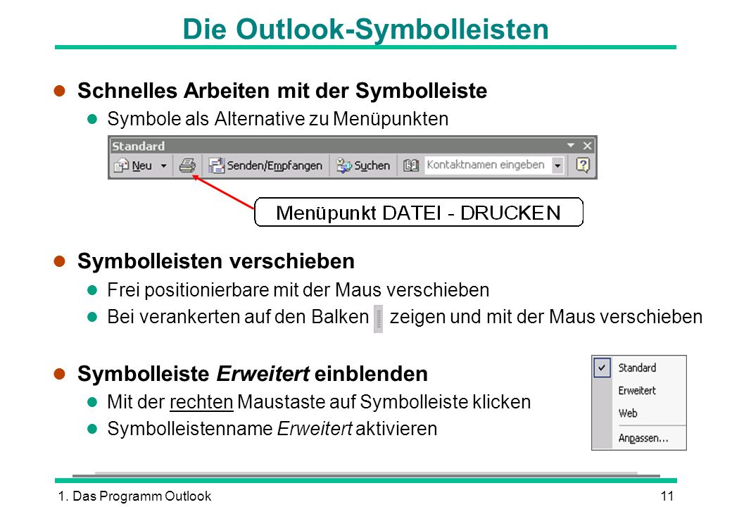 Die Outlook-Symbolleisten
