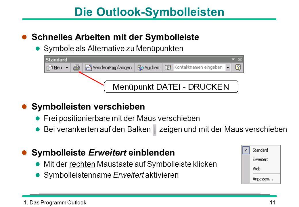 Die Outlook-Symbolleisten