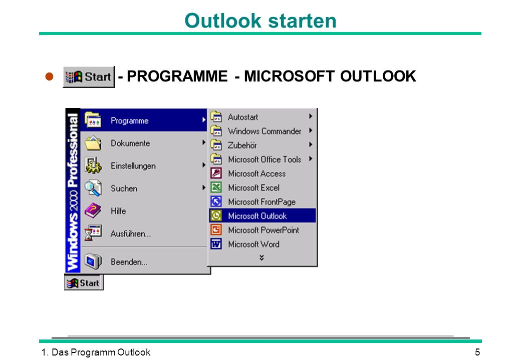 Outlook starten START - PROGRAMME - MICROSOFT OUTLOOK