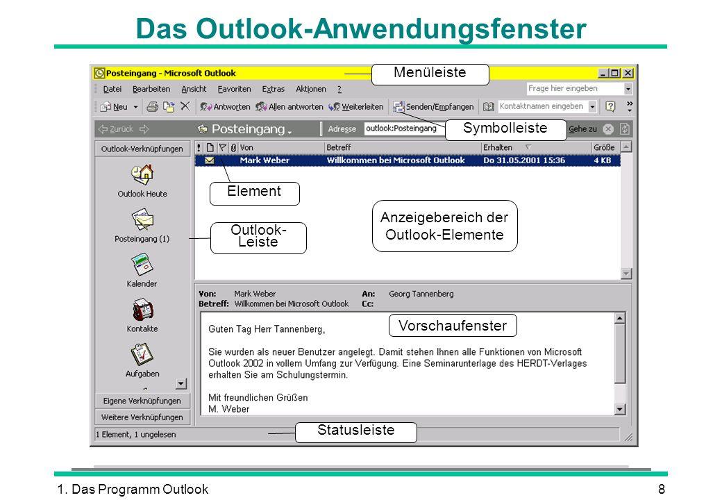 Das Outlook-Anwendungsfenster