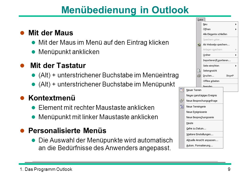 Menübedienung in Outlook