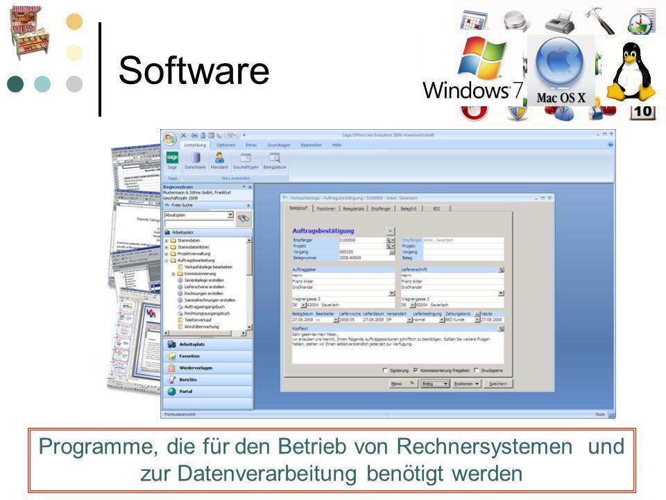 Software Programme, die für den Betrieb von Rechnersystemen und zur Datenverarbeitung benötigt werden.