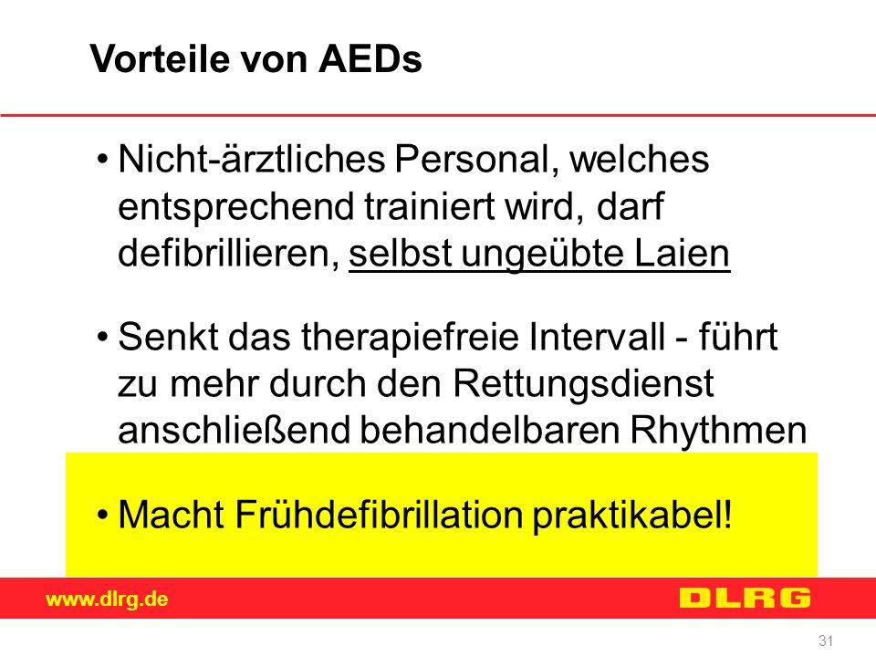 Vorteile von AEDs Nicht-ärztliches Personal, welches entsprechend trainiert wird, darf defibrillieren, selbst ungeübte Laien.