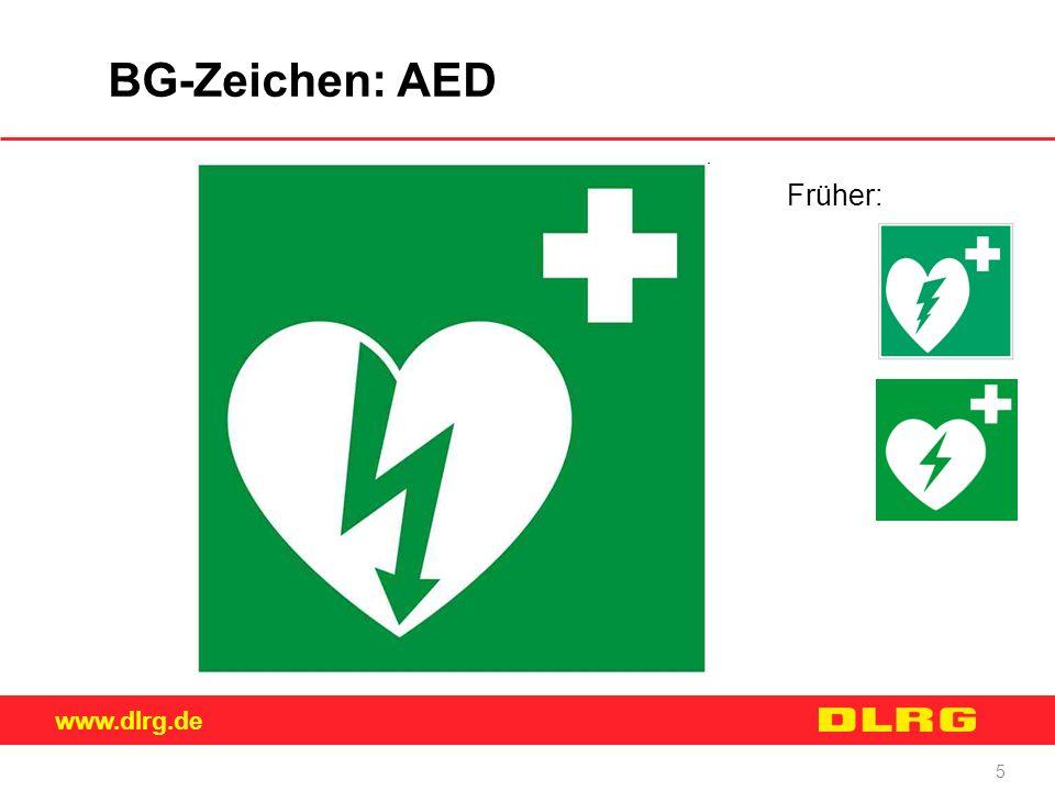 BG-Zeichen: AED Früher: