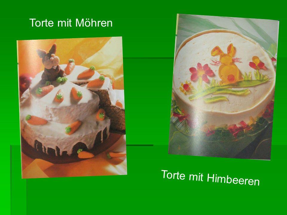 Torte mit Möhren Torte mit Himbeeren