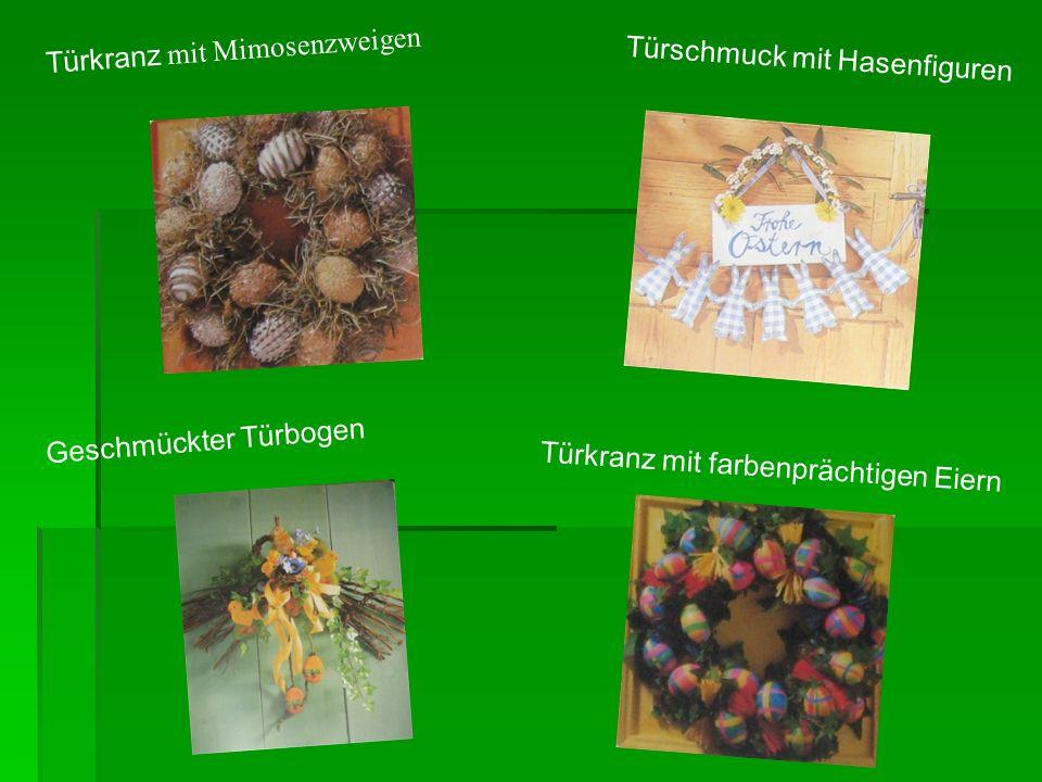 Türkranz mit Mimosenzweigen