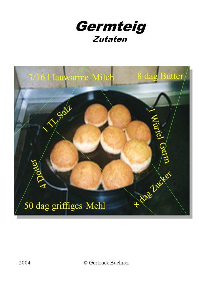 Germteig Zutaten 8 dag Butter 3/16 l lauwarme Milch 1 TL Salz