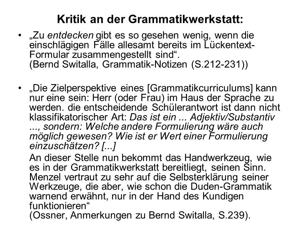 Kritik an der Grammatikwerkstatt:
