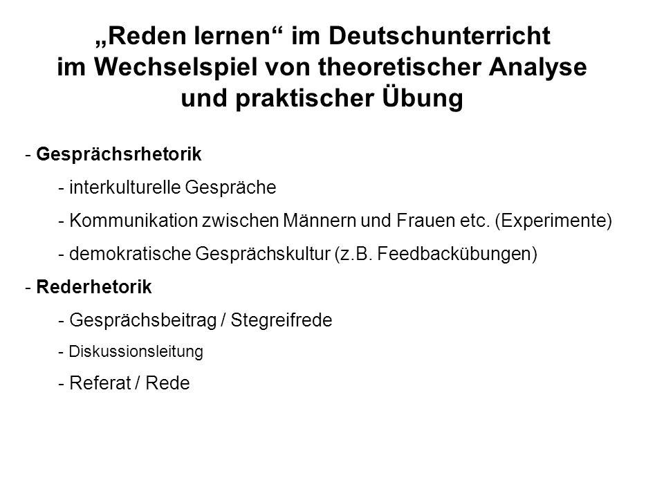"""""""Reden lernen im Deutschunterricht im Wechselspiel von theoretischer Analyse und praktischer Übung"""