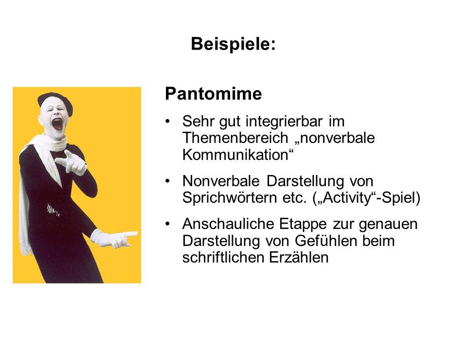 """Beispiele: Pantomime. Sehr gut integrierbar im Themenbereich """"nonverbale Kommunikation"""