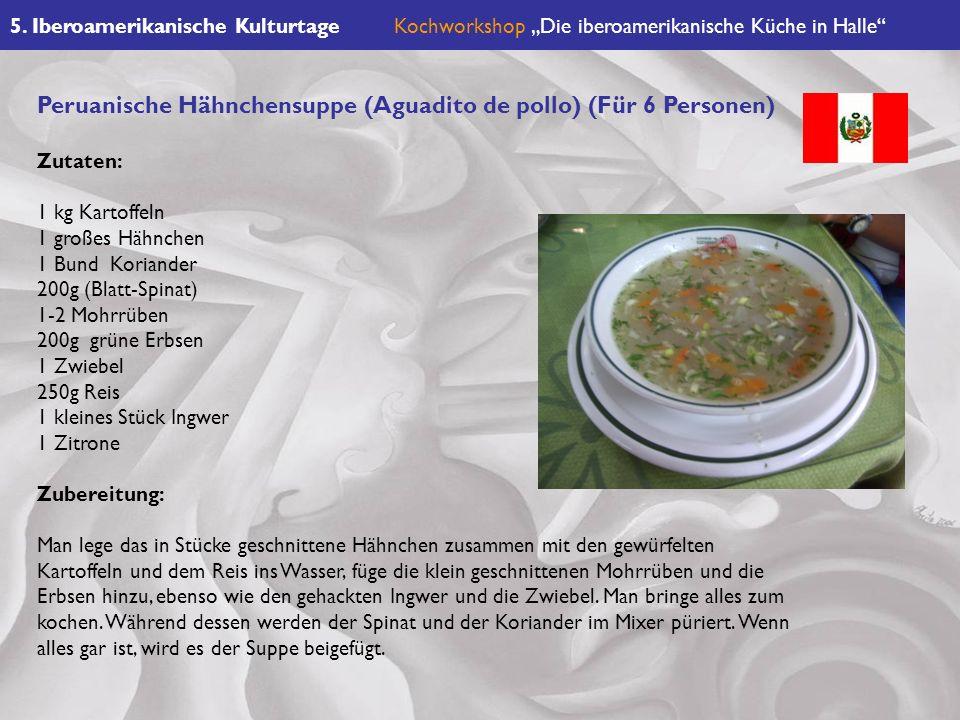 Peruanische Hähnchensuppe (Aguadito de pollo) (Für 6 Personen)