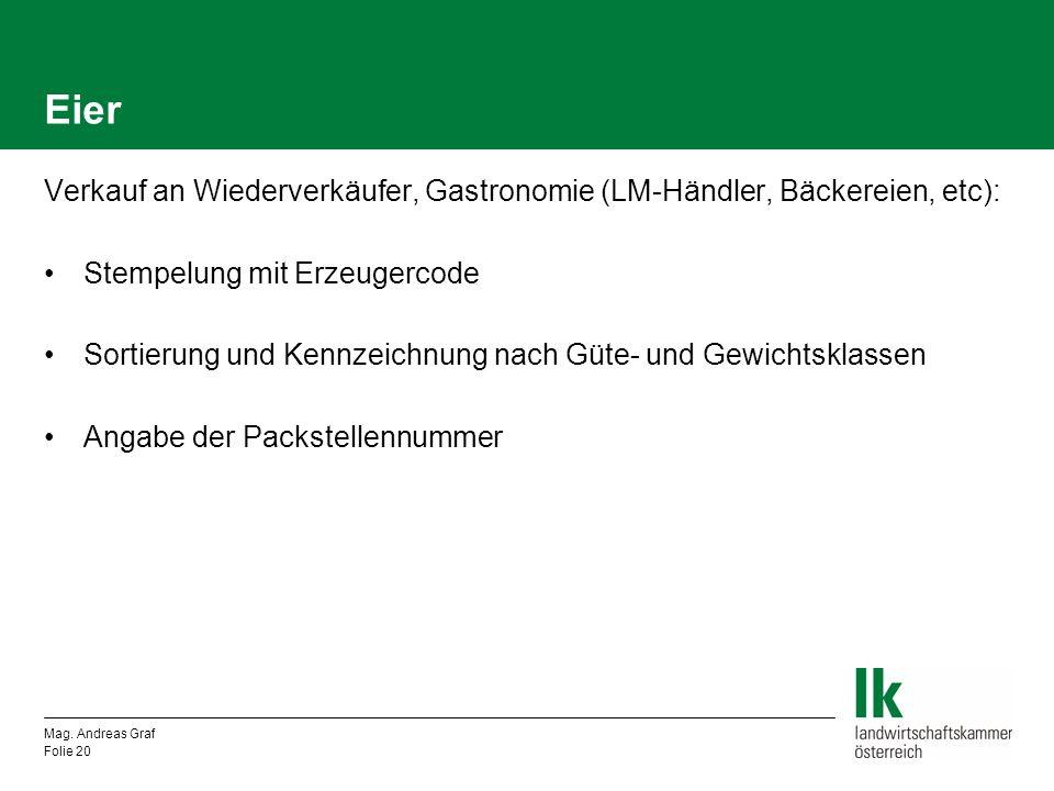 Eier Verkauf an Wiederverkäufer, Gastronomie (LM-Händler, Bäckereien, etc): Stempelung mit Erzeugercode.