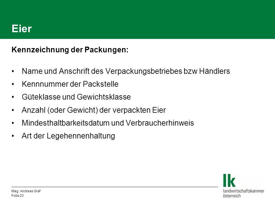 Eier Kennzeichnung der Packungen: