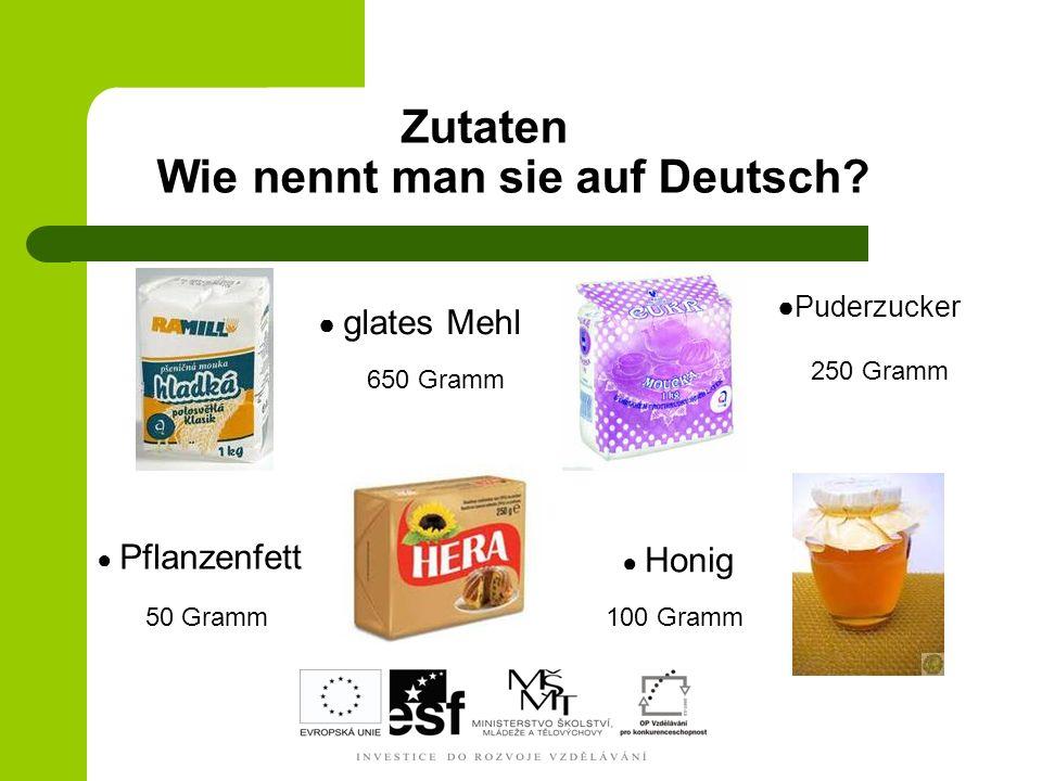 Zutaten Wie nennt man sie auf Deutsch