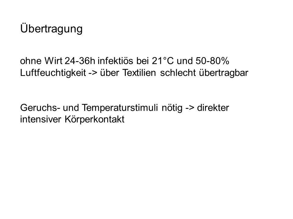 Übertragung ohne Wirt 24-36h infektiös bei 21°C und 50-80% Luftfeuchtigkeit -> über Textilien schlecht übertragbar.
