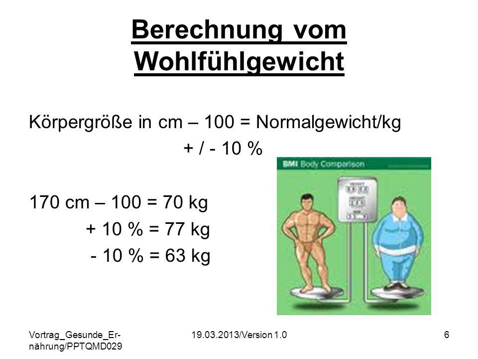 Berechnung vom Wohlfühlgewicht