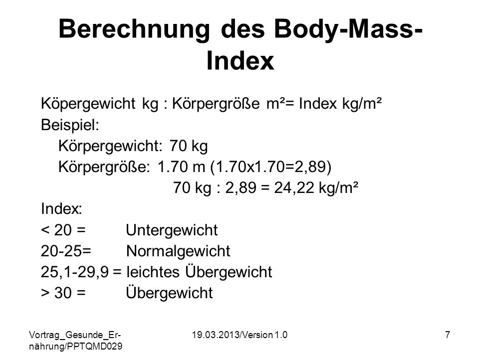 Berechnung des Body-Mass-Index
