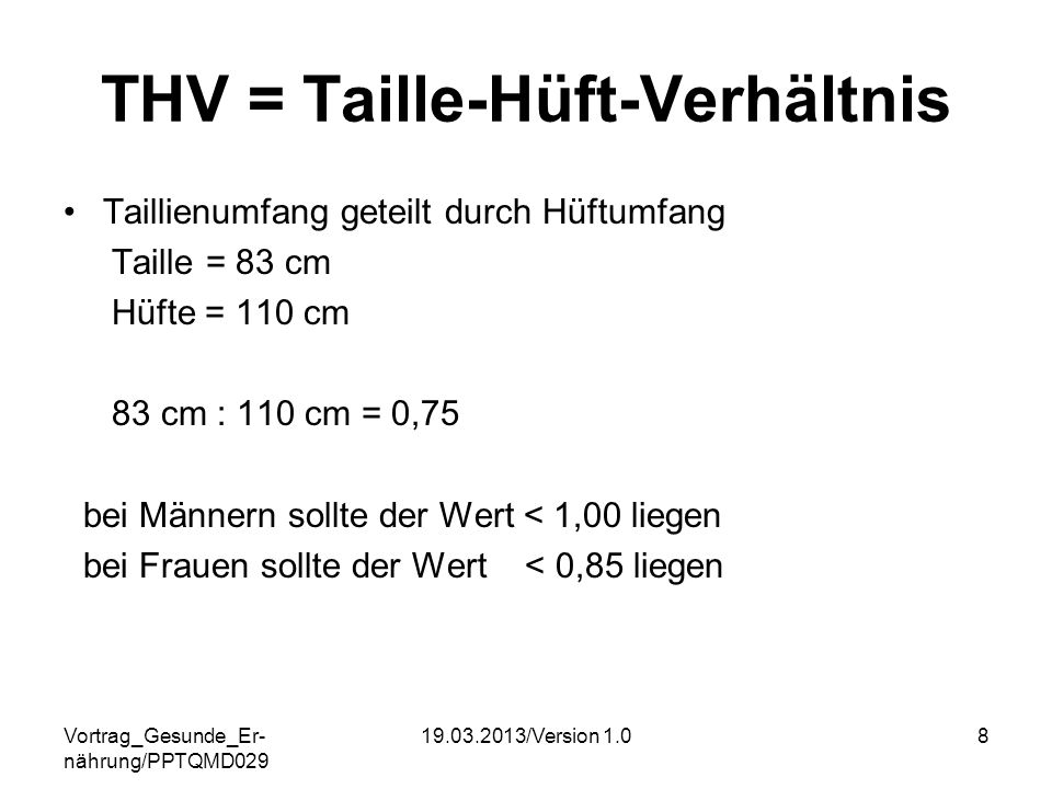 THV = Taille-Hüft-Verhältnis
