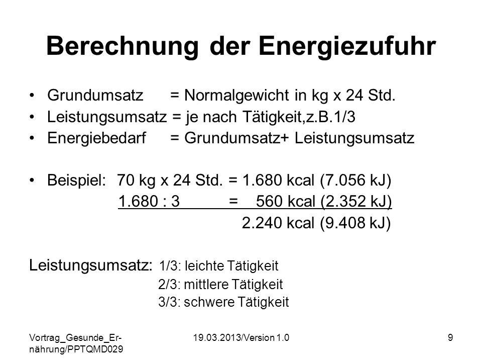 Berechnung der Energiezufuhr