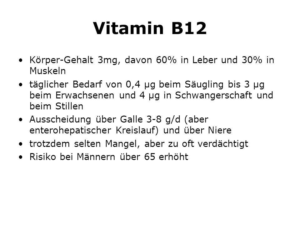 Vitamin B12 Körper-Gehalt 3mg, davon 60% in Leber und 30% in Muskeln