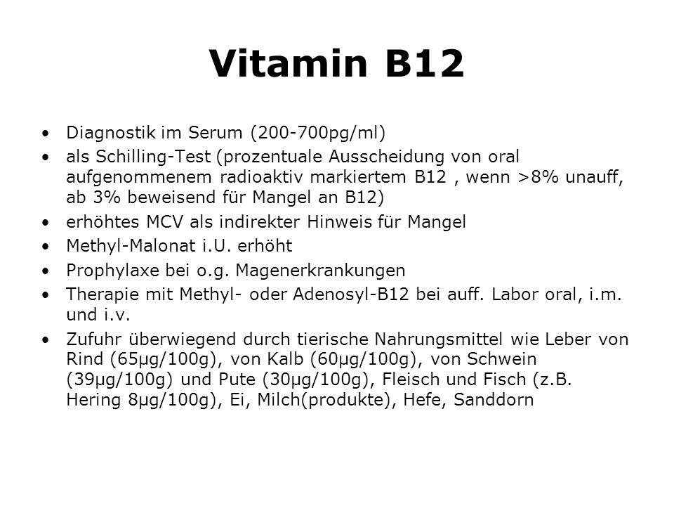Vitamin B12 Diagnostik im Serum (200-700pg/ml)
