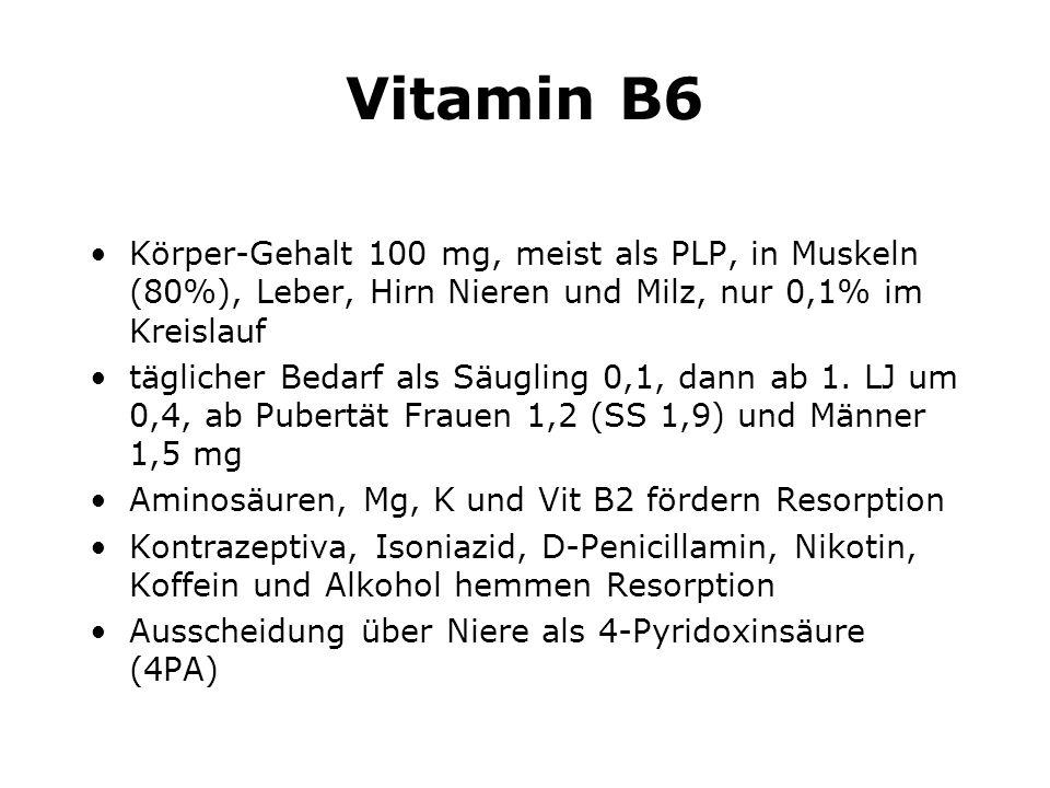 Vitamin B6 Körper-Gehalt 100 mg, meist als PLP, in Muskeln (80%), Leber, Hirn Nieren und Milz, nur 0,1% im Kreislauf.