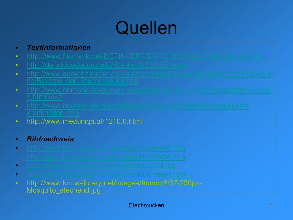 Quellen Textinformationen
