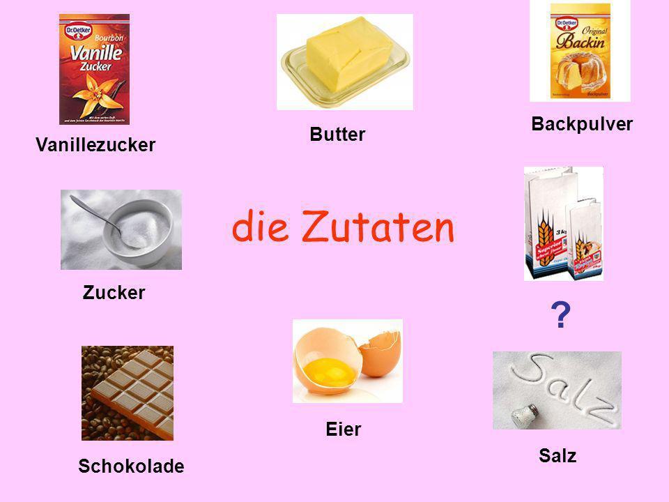 die Zutaten Backpulver Butter Vanillezucker Zucker Eier Salz
