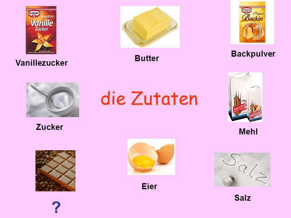 Backpulver Butter Vanillezucker die Zutaten Zucker Mehl Eier Salz