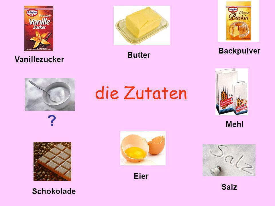 die Zutaten Backpulver Butter Vanillezucker Mehl Eier Salz