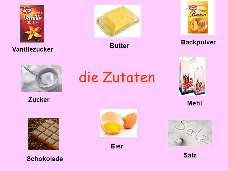 die Zutaten Backpulver Butter Vanillezucker Zucker Mehl Eier Salz