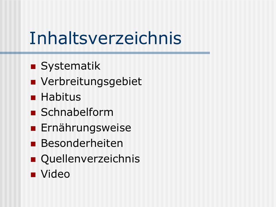 Inhaltsverzeichnis Systematik Verbreitungsgebiet Habitus Schnabelform