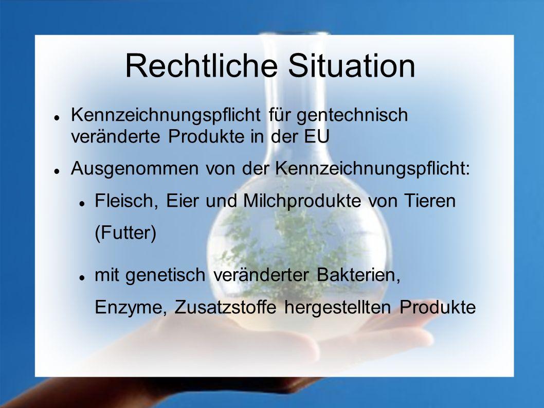 Rechtliche Situation Kennzeichnungspflicht für gentechnisch veränderte Produkte in der EU. Ausgenommen von der Kennzeichnungspflicht: