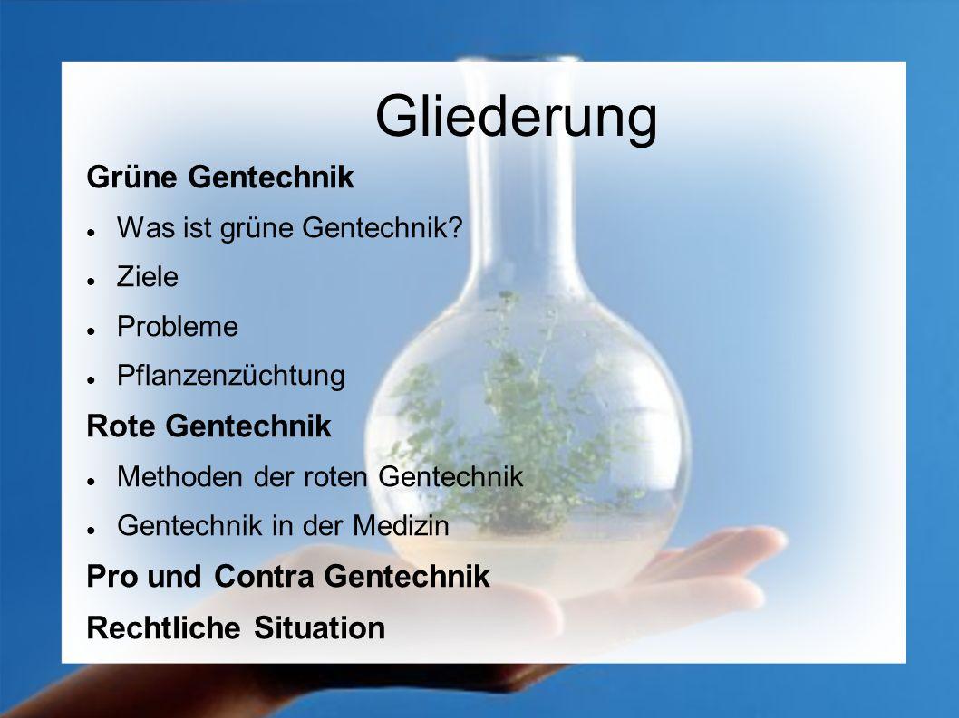 Gliederung Grüne Gentechnik Rote Gentechnik Pro und Contra Gentechnik