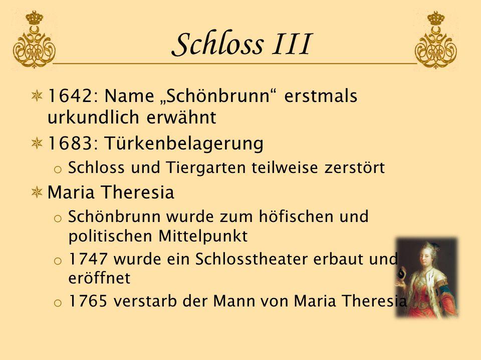"""Schloss III 1642: Name """"Schönbrunn erstmals urkundlich erwähnt"""