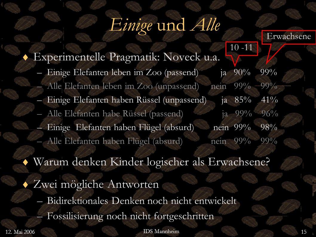 Einige und Alle Experimentelle Pragmatik: Noveck u.a.