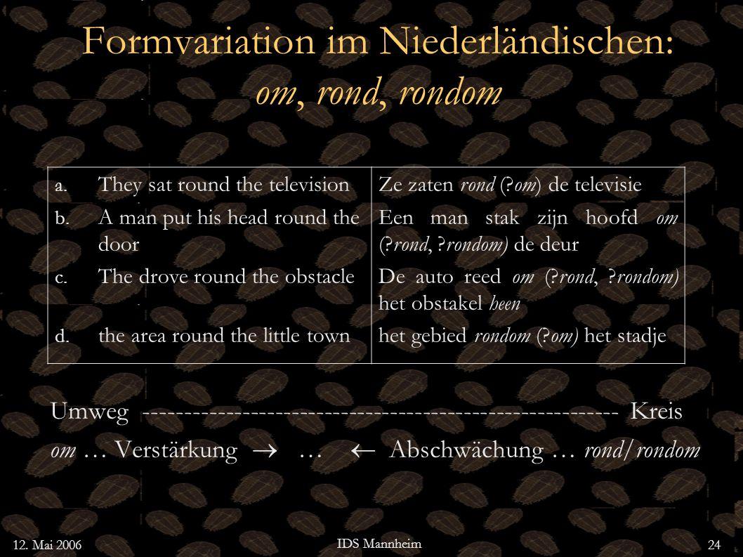 Formvariation im Niederländischen: om, rond, rondom