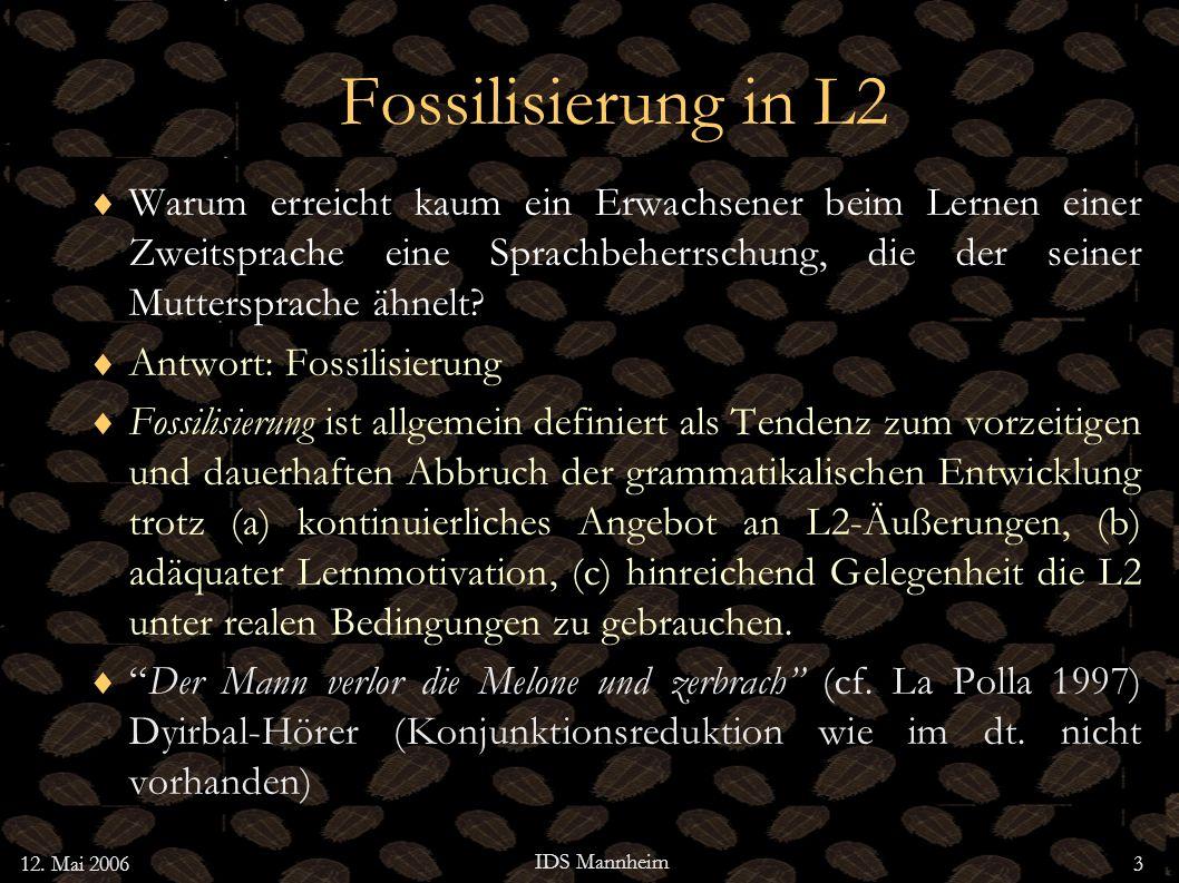Fossilisierung in L2 Warum erreicht kaum ein Erwachsener beim Lernen einer Zweitsprache eine Sprachbeherrschung, die der seiner Muttersprache ähnelt