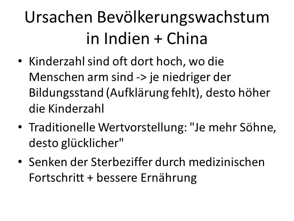 Ursachen Bevölkerungswachstum in Indien + China