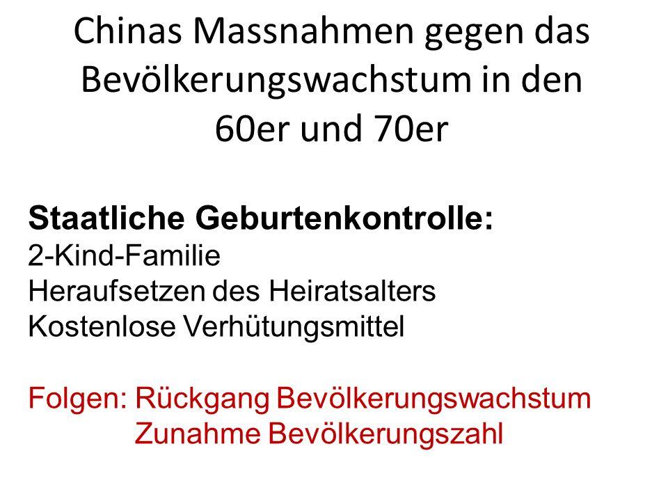 Chinas Massnahmen gegen das Bevölkerungswachstum in den 60er und 70er