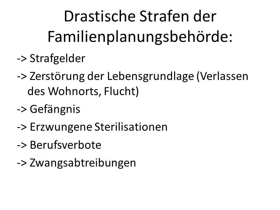 Drastische Strafen der Familienplanungsbehörde: