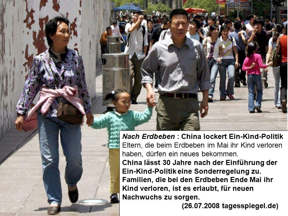 Nach Erdbeben : China lockert Ein-Kind-Politik