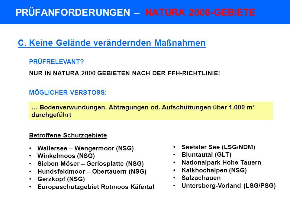 PRÜFANFORDERUNGEN – NATURA 2000-GEBIETE