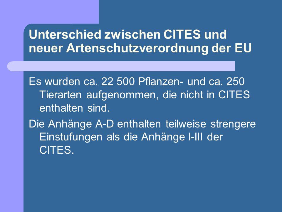 Unterschied zwischen CITES und neuer Artenschutzverordnung der EU