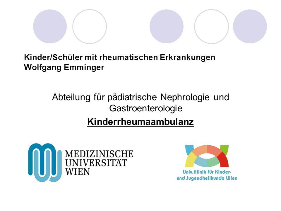 Kinder/Schüler mit rheumatischen Erkrankungen Wolfgang Emminger