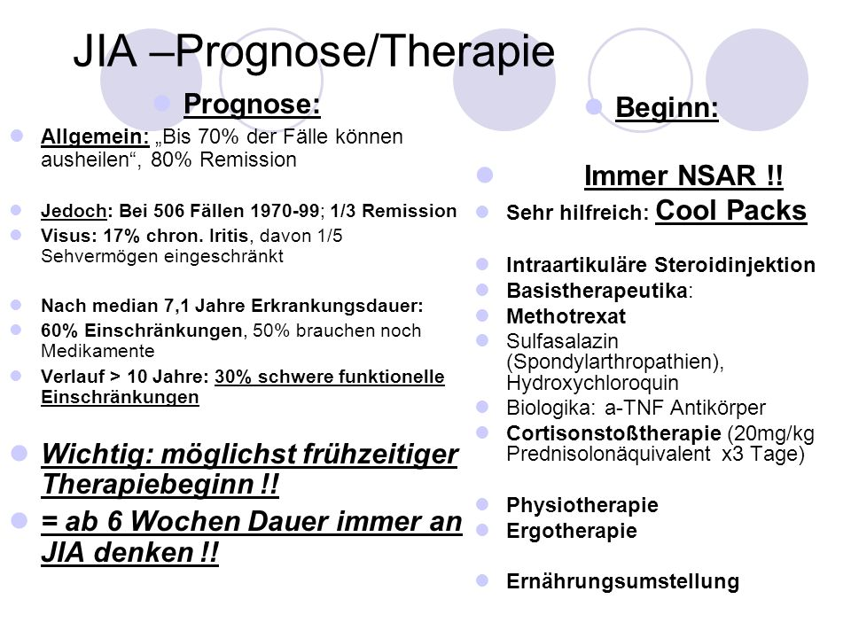 JIA –Prognose/Therapie