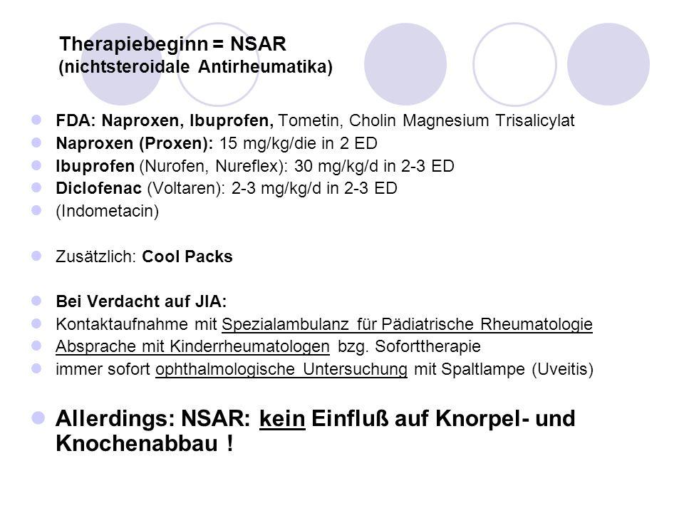 Therapiebeginn = NSAR (nichtsteroidale Antirheumatika)